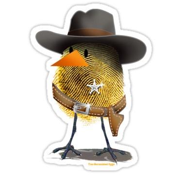 2 Scrambled Eggs - wEGGstern - chick,sheriff,eggs,humor,western,comics,tees,cartoons,cowboy,apparel,graphics,characters,illustration - arte-8561 | ello