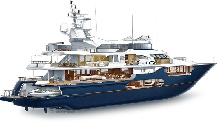 Luxury Yacht Cutaway - technicalillustration - jamesprovost | ello