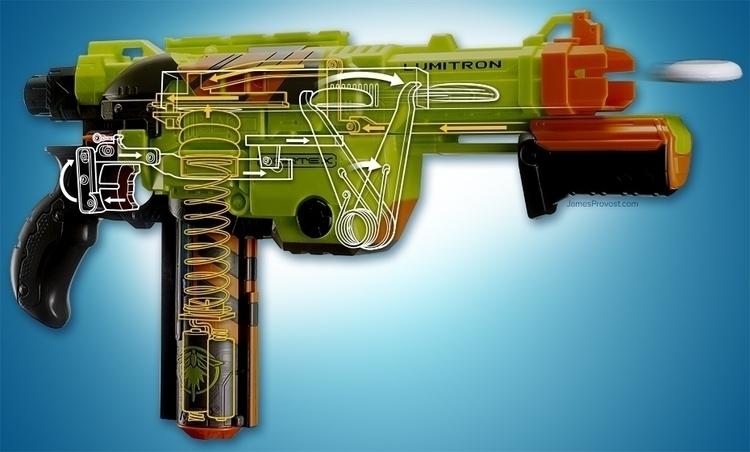 Nerf Gun Cutaway - technicalillustration - jamesprovost | ello