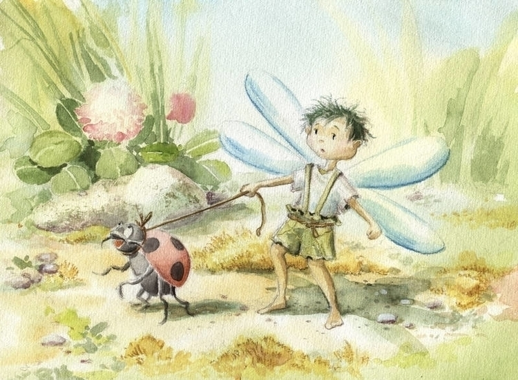Walking Ladybug - illustration, painting - joannapasek | ello
