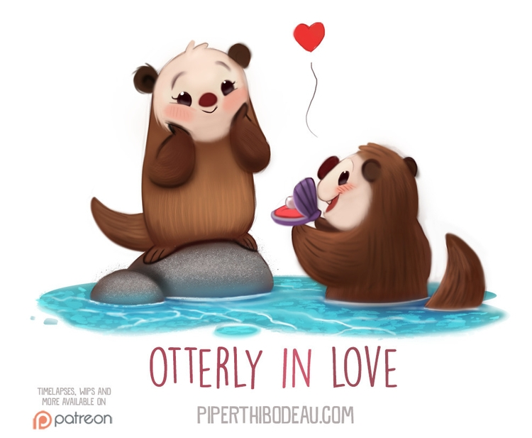 Daily Paint 1546. Otterly Love - piperthibodeau | ello
