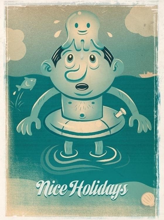 Nice Holidays - illustration, postcard - reconq | ello