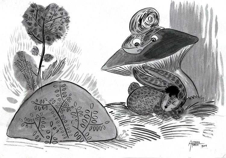Dibujo tinta con aguada - rabbit - alfredointoci   ello