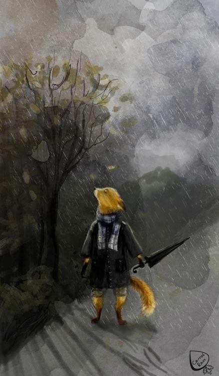 Sad fox - illustration, rain, autumn - carrotrain | ello