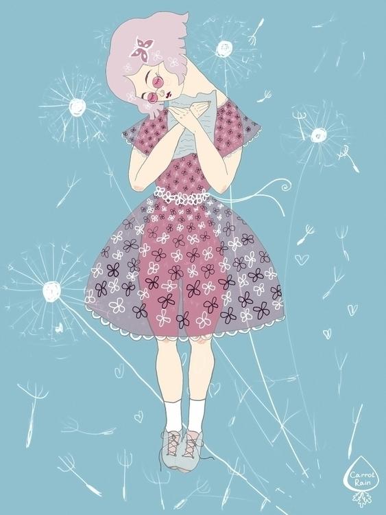 Pink Lady - illustration, girl, pink - carrotrain   ello