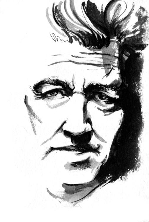 portrait, davidlynch, ink, drawing - annagosteva   ello