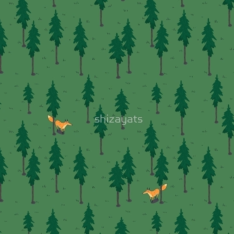 Fox woods - fox, pattern, fabric - pushkina | ello