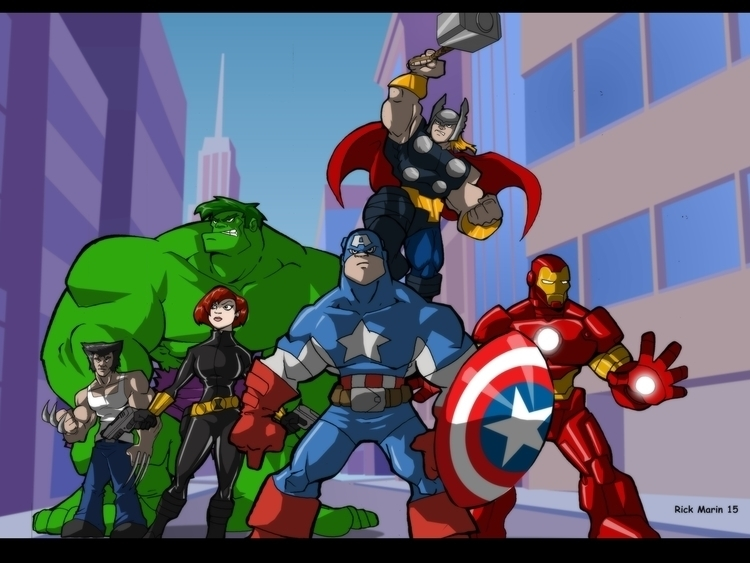 Avengers - animation, characterdesign - rickmarin   ello