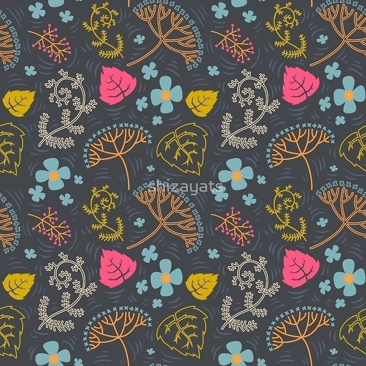 Dark Pond - pattern, floral, flowers - pushkina   ello