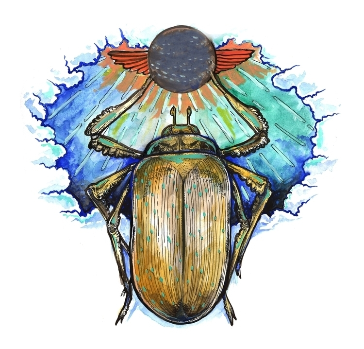 Scarab Illustration. Pen bristo - azoth414 | ello