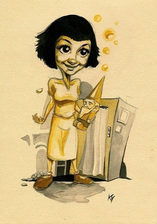 amelie, actor, movie, woman, caricature - kvik   ello
