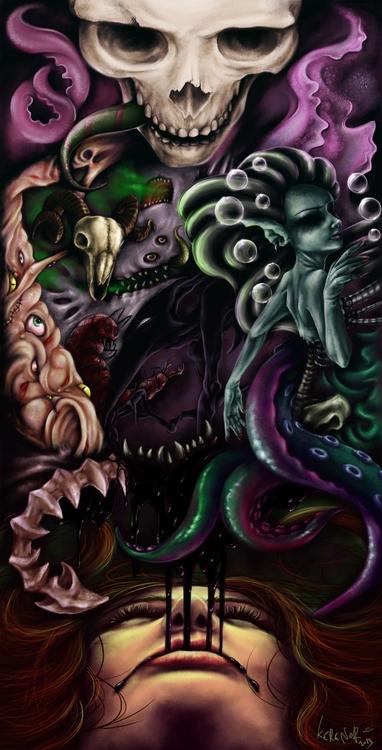 monsters, skull, tentacles, abstract - kerenor | ello