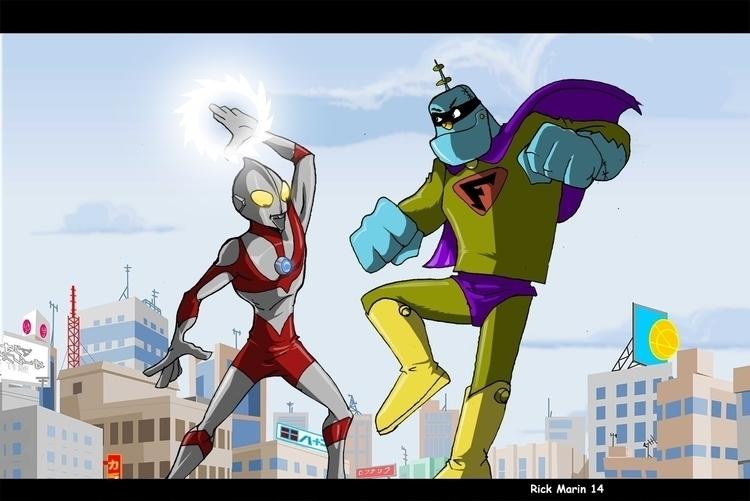 Ultraman Frankenstein Jr - illustration - rickmarin | ello