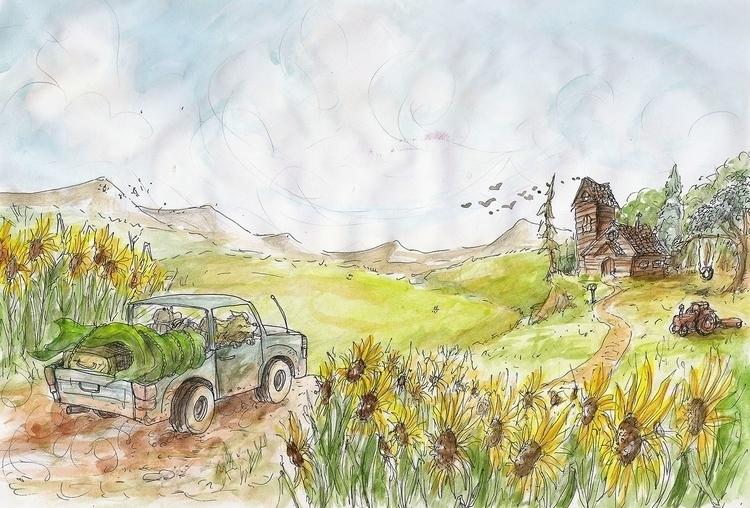 illustration, painting, acuarela - nahuelullua | ello