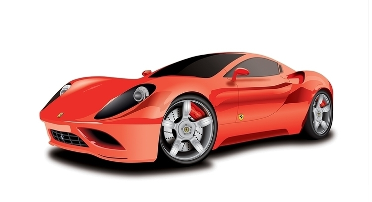illustration Car ( Ferrari  - drawing - dinoart | ello