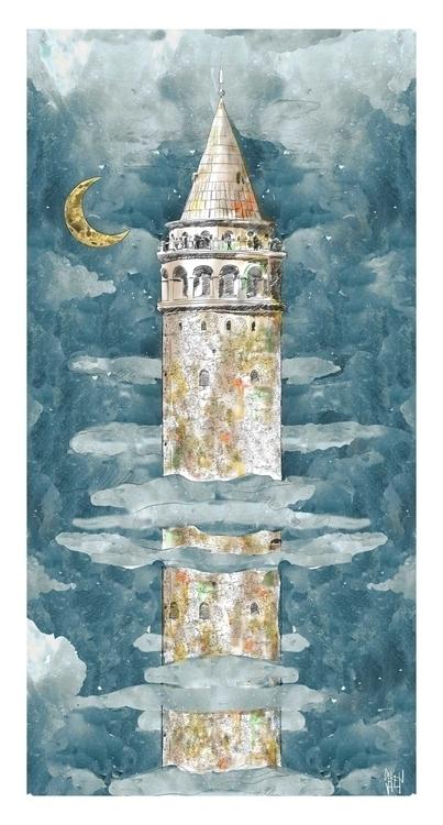 Galata Tower Pera - illustration - seren-1097 | ello