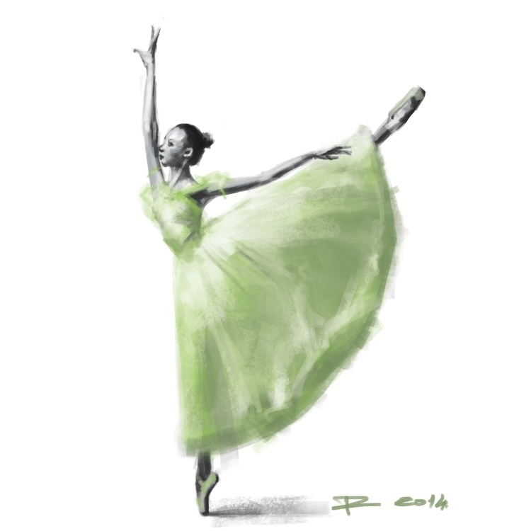 Green Ballerina - painting, drawing - raschomon | ello