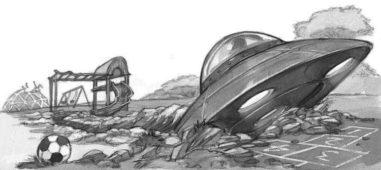 Spaceship crash landing - blackandwhite - jessicawarrick | ello