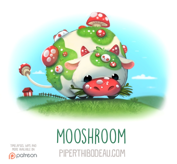 Daily Paint 1557. Mooshroom - piperthibodeau | ello