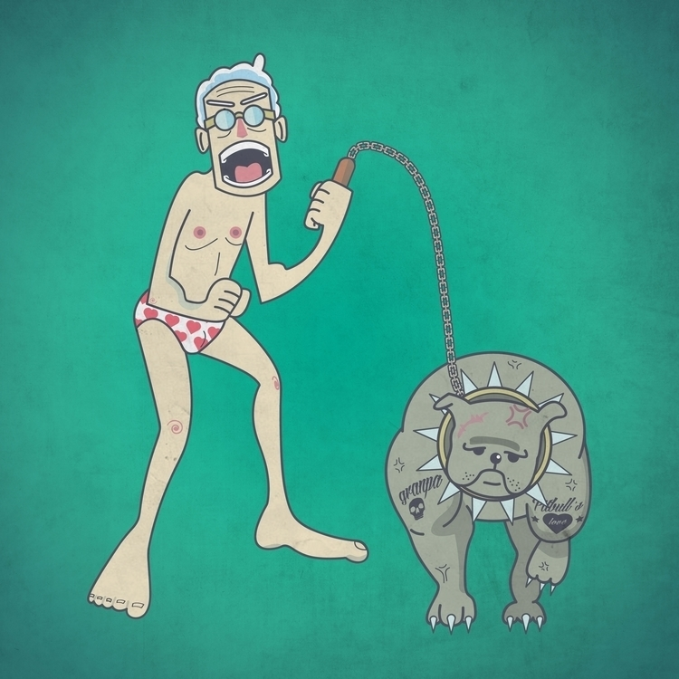 mad grandpa dog fight - illustration - flyingotter | ello