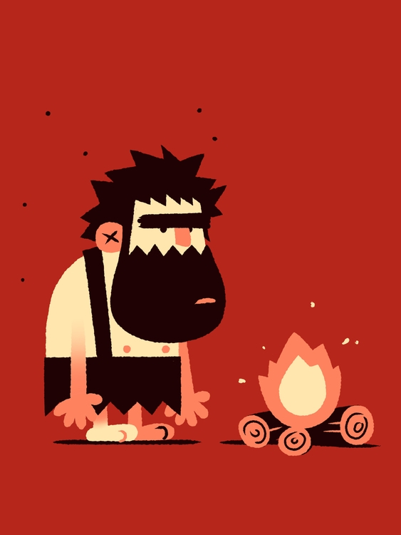 caveman fire - illustration, characterdesign - joshuamenas | ello