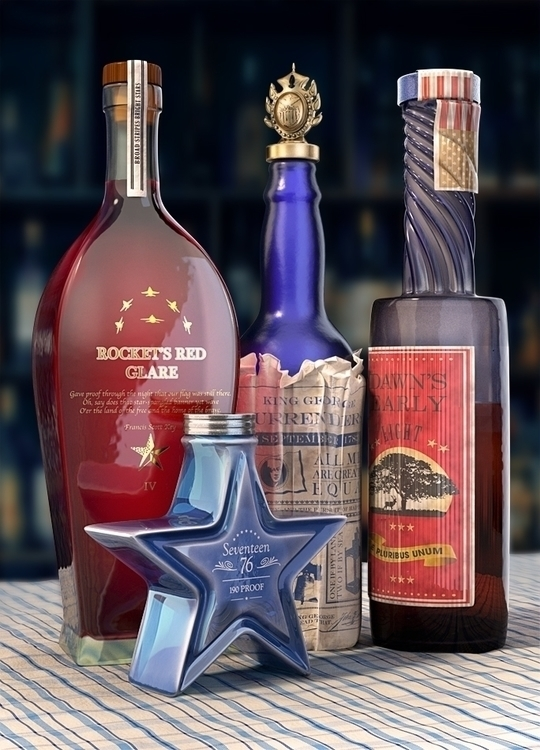 Independence Bottles - 3dart, cgi - scottwulf | ello