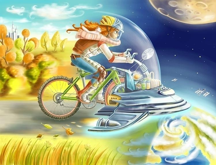 Cyclist - girl, bike, space, dream - dinkoobraz | ello