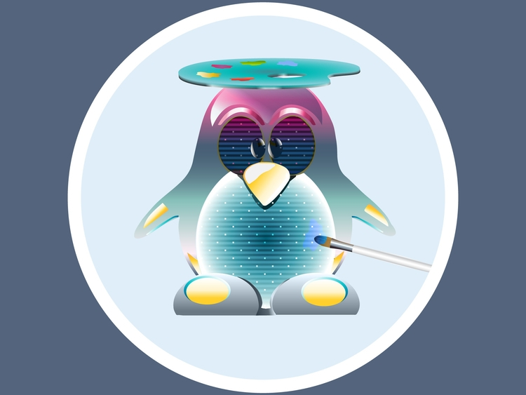 painter penguin illustrator - vector - damour-2211 | ello