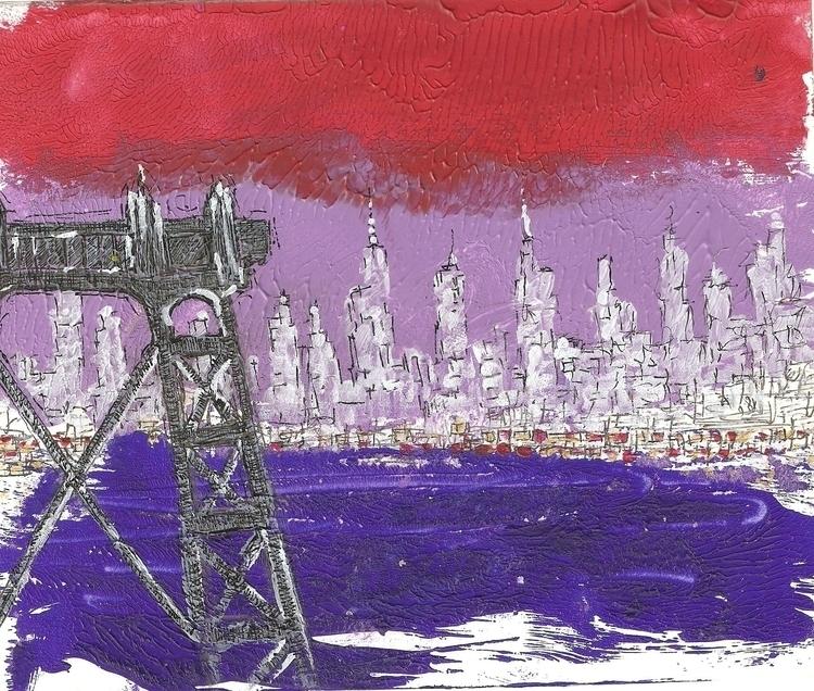 Torii, acrylics, 12,5x15 cm - painting - michelemicheletti | ello
