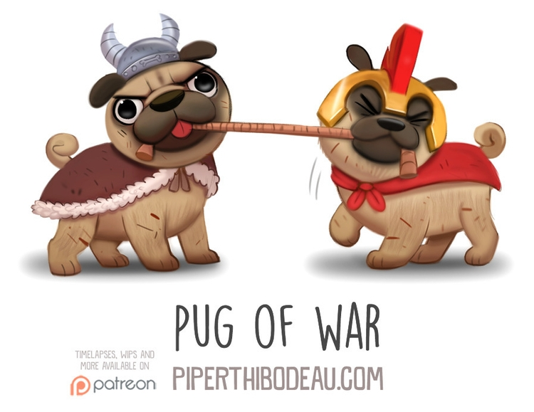 Daily Paint 1563. Pug War - piperthibodeau | ello