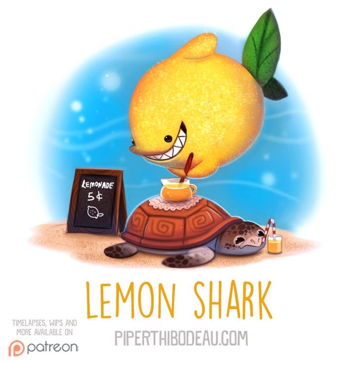 Daily Paint 1564. Lemon Shark - piperthibodeau | ello