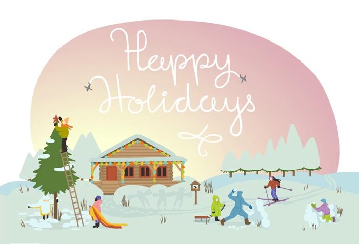 Hey-hey-hey, happy holidays - illustration - sashaponomareva | ello
