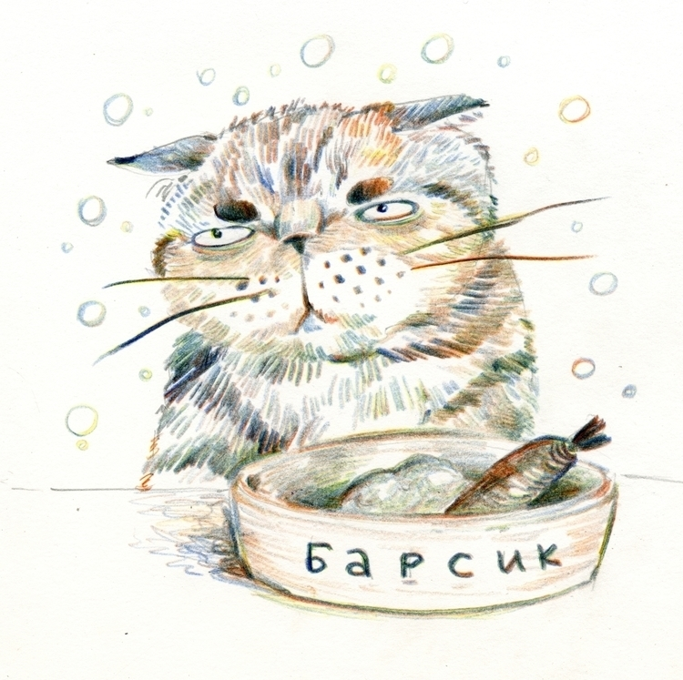 Barsik diet - cat, cats, sketch - prianikn | ello