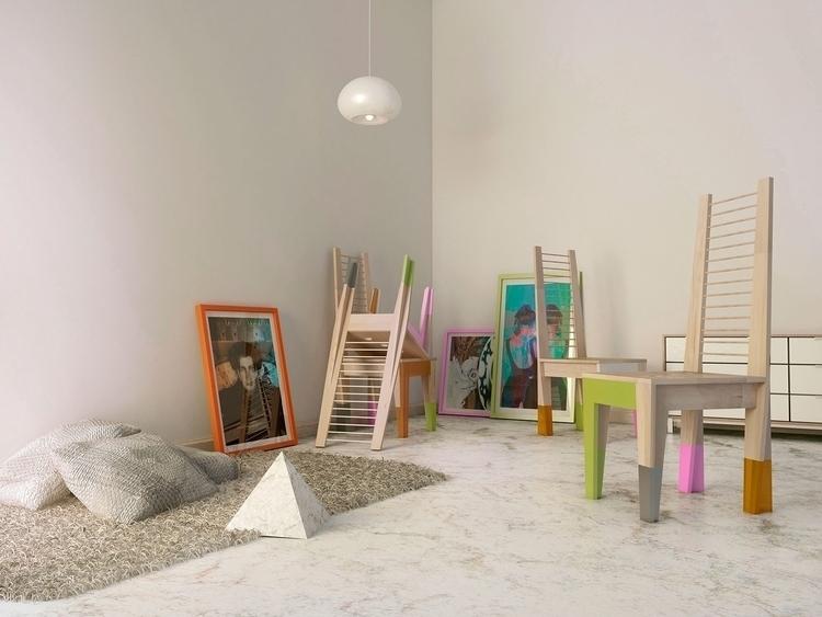 Chairs - illustration, design, 3d - cruvi   ello