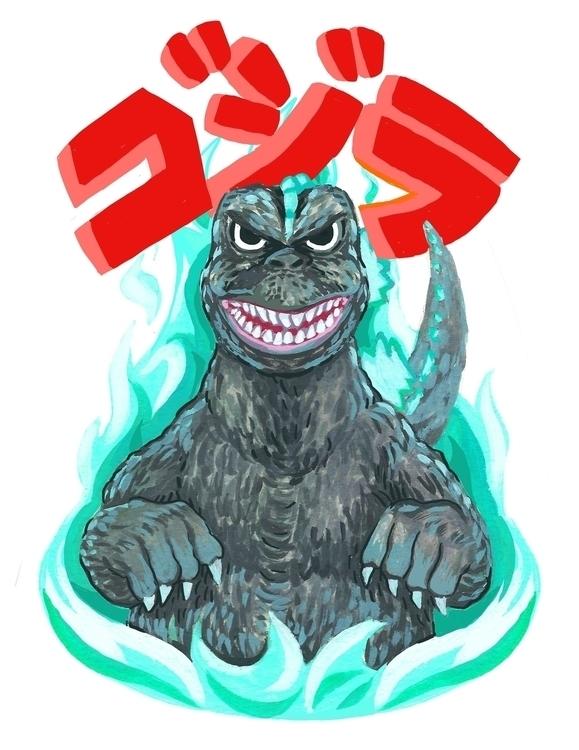 Godzilla - illustration, godzilla - devyn_park | ello