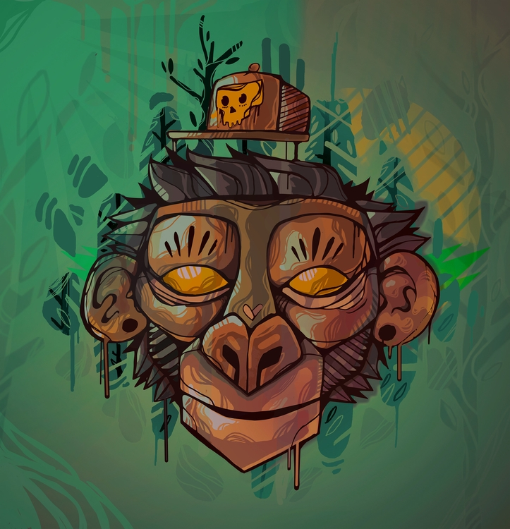 monkey - illustration, painting - emersondiasm5 | ello