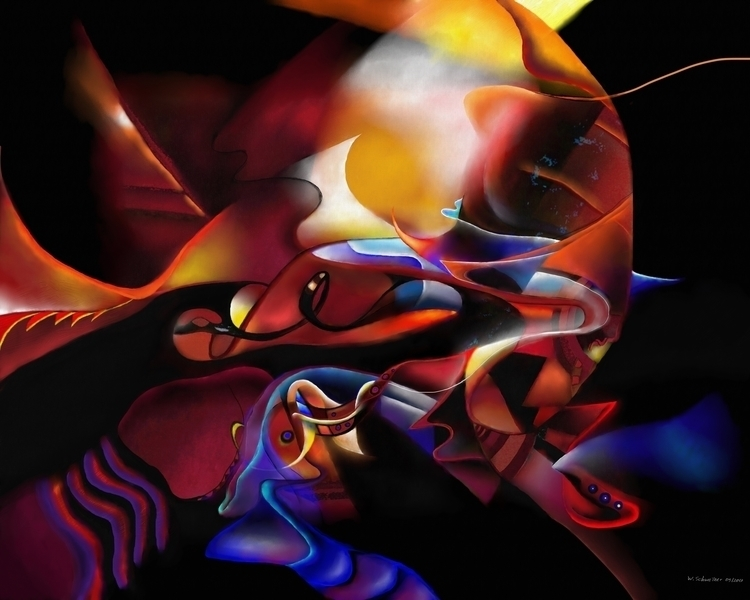 red soundshape - painting, digitalpainting - wolfgangschweizer | ello