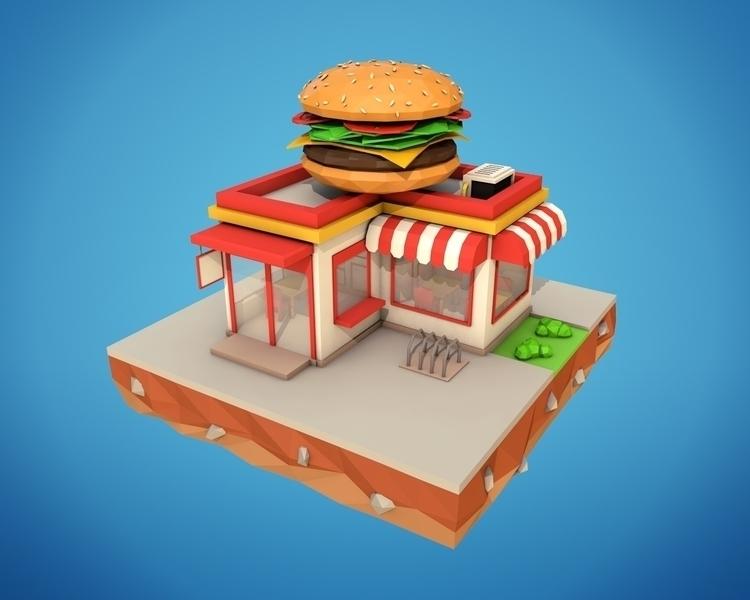 Poly Burger Cafe - 3d, motiondesign - bigballsstudio   ello