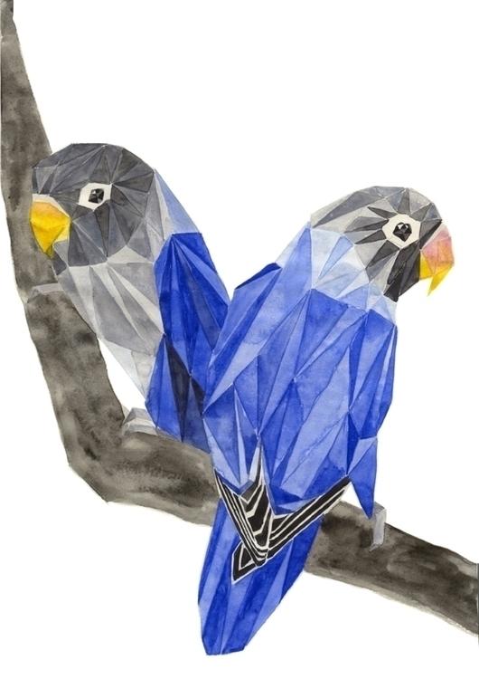 watercolour, lovebirds, birds - robincottage | ello
