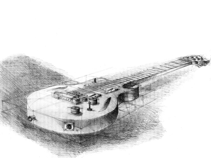 pencil sketch imagined guitar - drawing - grimdream | ello