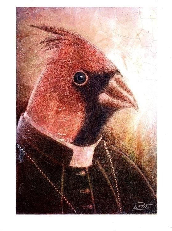 Cardinal. Pencil drawing, digit - ldaponte-9086 | ello