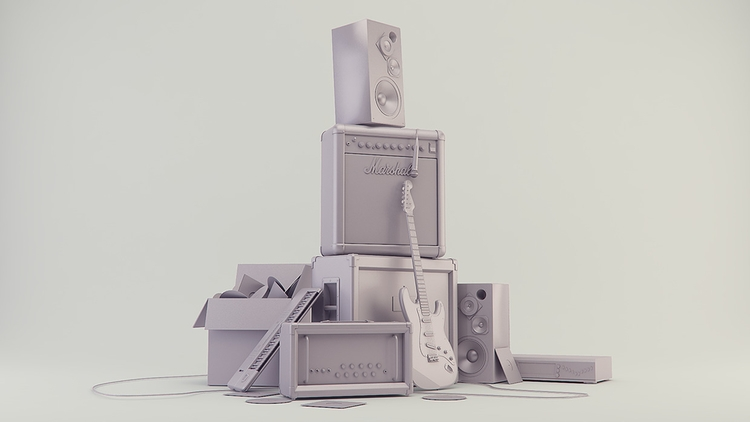 Instrument Stack Clay Render - animation - miruku3d | ello