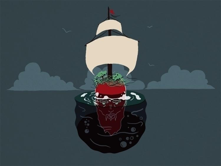 illustration, head, island, ship - joao-4107 | ello