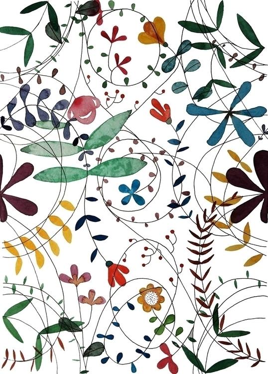Flowers leaves - 5, watercolor, illustration - laurabracamonte | ello