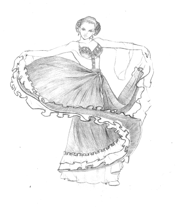 spanish, woman, sketch, dancer - alisa102 | ello