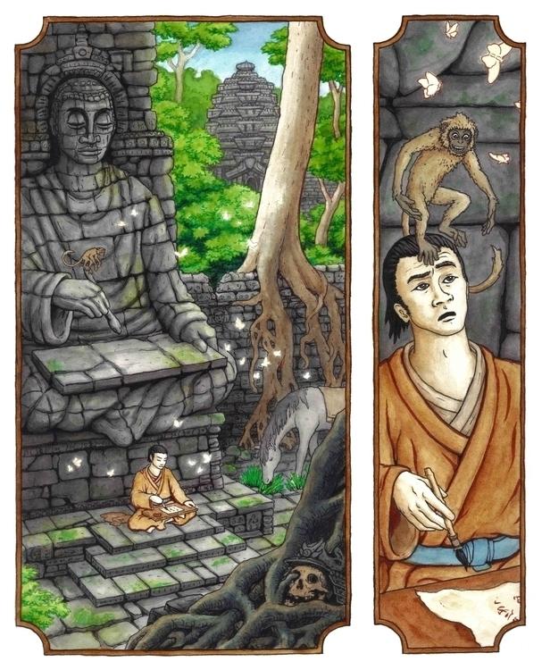 Meditation Ruins Calligrapher - illustration - bluemask-5749   ello
