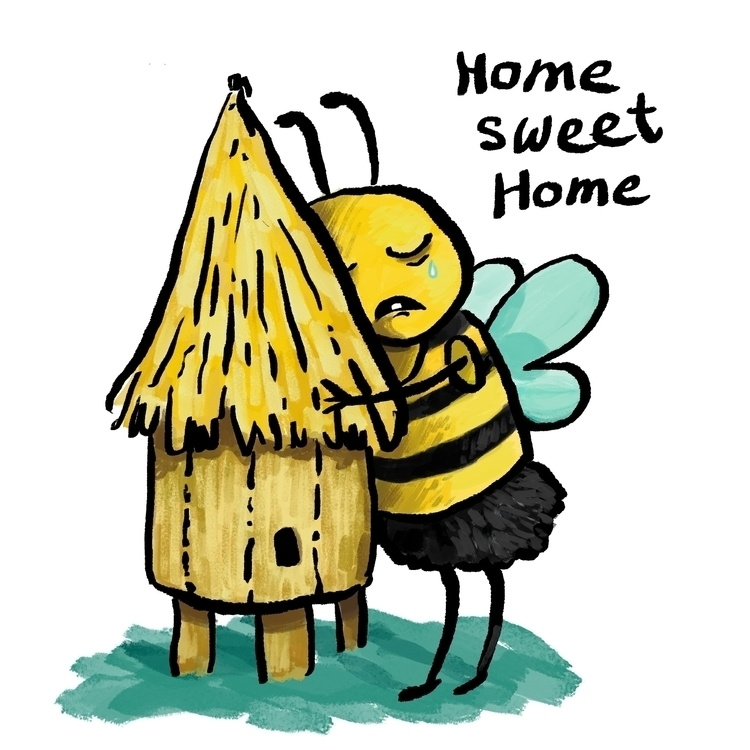 Home sweet home - bee, funny, illustration - prianikn | ello