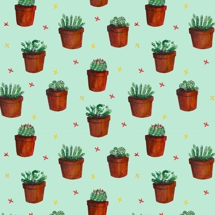 Cacti - pattern, gouache, cactus - prianikn | ello