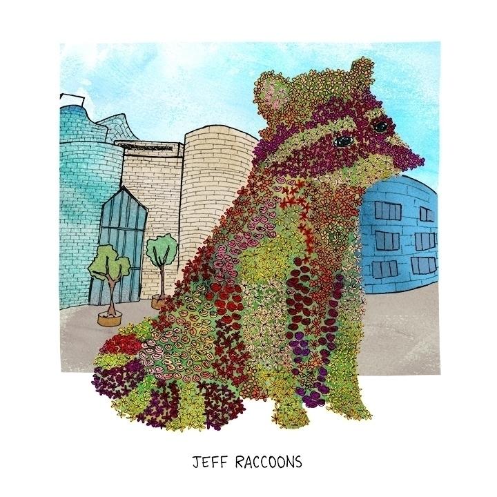 Jeff Raccoons (Jeff Koons - watercolor - nanu_illustration | ello