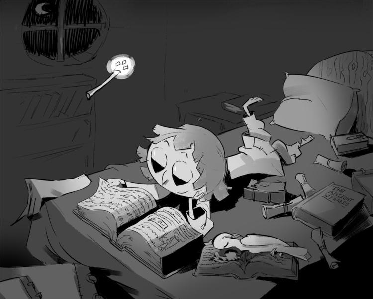 Night reading - wizard, bird, greyscale - samszym | ello